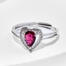 Nhẫn Tourmaline hồng viền trái tim