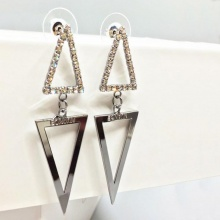 Bông tai Hàn Quốc Double Triangle - Tatiana - BH1077 (Bạc)