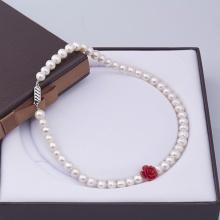 Opal - Vòng cổ ngọc trai tự nhiên kết hoa mặt hoa hồng_T01