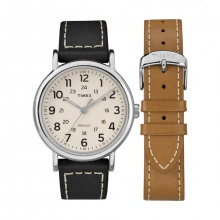 Đồng hồ nam Timex Weekender 40mm 2-Piece Leather Strap Watch Gift Set - TWG019300
