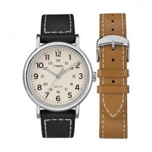 Đồng hồ nam Timex Weekender 40mm 2-Piece Leather Strap Watch Gift Set - TWG019300