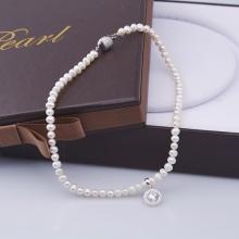 Opal - Vòng cổ ngọc trai 7li kèm mặt bạc đính ngọc trai trắng _T01