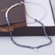 Opal - Vòng cổ ngọc trai 6li phối đen trắng kèm mặt giọt _T01