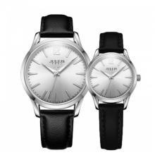 Đồng hồ cặp Julius Hàn Quốc dây da ja-983a đen mặt trắng
