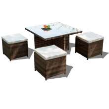 Bộ bàn ghế ăn nhựa giả mây Furnist Corner