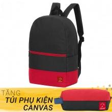 Balo thời trang Glado classical - BLL007 (màu đen phối đỏ) - Tặng túi phụ kiện canvas