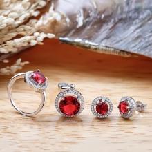 Bộ trang sức bạc Red Circle - Eropi Jewelry