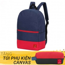 Balo thời trang Glado classical - BLL007 (màu xanh phối đỏ) - Tặng túi phụ kiện canvas