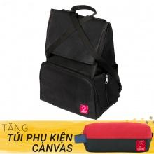 Balo du lịch thời trang Glado Wander GWD002 (màu đen) - Tặng túi phụ kiện canvas