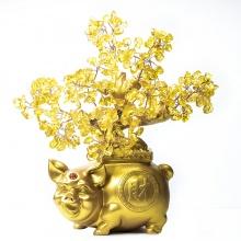 Cây Tài Lộc - Cây đá phong thủy thạch anh vàng tự nhiên đế heo vàng may mắn VietGemstones