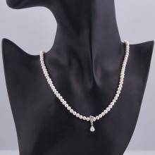 Opal - Vòng cổ ngọc trai trắng mặt ngọc trai giọt đính đá_T01
