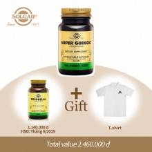 Combo Solgar® Super Ginkgo viên uống bổ não bạch quả 60 viên nang thực vật và quà tặng miễn phí (Tảo lục Chlorella + Áo thun)