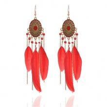 Bông tai lông vũ hoa văn - Tatiana - BH2544 (Đỏ)