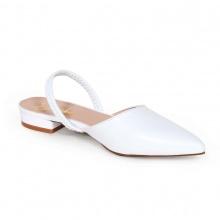 Giày nữ đế bệt mũi nhọn thời trang phối dây Erosska EL002 (Màu trắng)