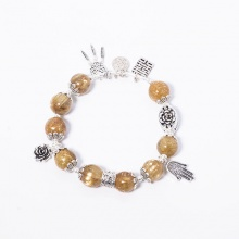 Vòng thạch anh tóc vàng AAA+ phối charm bạc Ngọc Quý Gemstones