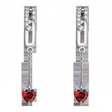 Bông tai bạc đính đá màu đỏ PNJSilver Fantasia ZTXMK000111