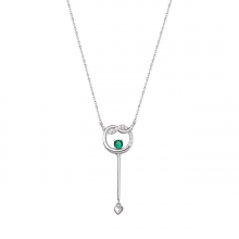 Dây cổ bạc PNJSilver Fantasia đính đá màu xanh lá 92634.408
