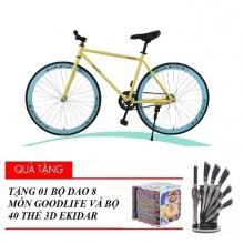 Xe đạp thể thao Fixed Gear ( vàng ) tặng bộ 40 thẻ 3D Ekidar hoa quả và bộ dao Goodlife