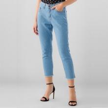 Quần jeans ngố nữ Papka tua lai 4044 xanh nhạt