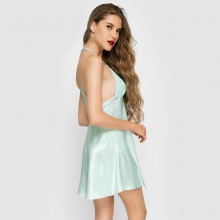 Đầm ngủ phi lụa Wannabe DN583 cutout lưng dạng áo 2 dây gợi cảm (Xanh)