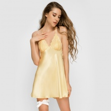Đầm ngủ phi lụa Wannabe DN583 cutout lưng dạng áo 2 dây gợi cảm (Đồng)