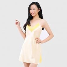 Đầm ngủ phi lụa Wannabe DN588 thoải mái, trẻ trung, đáng yêu chăm sóc giấc ngủ (Đồng)