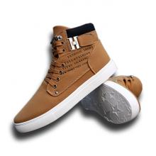 Giày nam thời trang cao cổ sneaker vải nhung in chữ trang trí hai bên