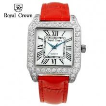 (SIÊU SALE)  Đồng hồ nữ chính hãng Royal Crown 6104 dây da đỏ