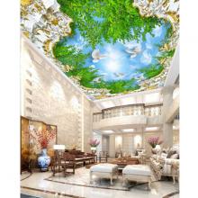 Tranh dán trần nhà 3D bầu trời lá xanh 2 TN30