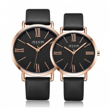 Đồng hồ cặp JA-1107E Julius Hàn Quốc dây da (đen)