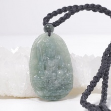 Phật bản mệnh Văn thù bồ tát Cẩm thạch nước ngọc 5x3cm
