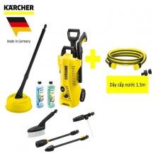 Combo máy phun rửa áp lực cao Karcher K2 Full control car and home và  dây cấp nước 1.5m