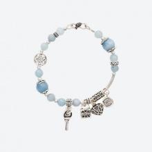 Vòng tay Aquamarine charm trái tim