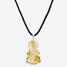 Mặt dây chuyền Phật Bà Quan Âm thạch anh tóc vàng