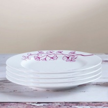 Combo 4 đĩa tròn hoa dây tím hồng LW 22/SSD030D5 Purple Flower String Round Plate LW 8.7