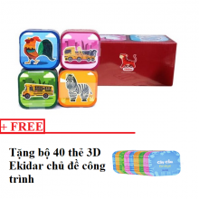 Bộ 96 thẻ học ngoại ngữ 3D Ekidar - Tặng bộ 40 thẻ 3D Ekidar chủ đề công trình