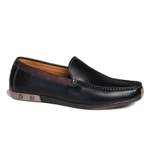 Giày lười đế bệt da bò GL79 đen thời trang