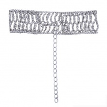 Vòng cổ choker đính đá metal wave - Tatiana - CD1047(bạc)