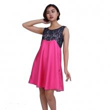 Đầm taffta hồng phối ren