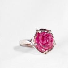 Nhẫn bạc đính đá hoa mẫu đơn Ruby