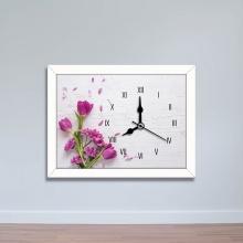 Tranh đồng hồ hình hoa lá màu tím - đồng hồ tiện ích WC087
