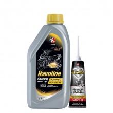 Bộ dầu nhớt xe tay ga Caltex Havoline SuperMatic 4T SAE 10W-40 1L kèm nhớt hộp số xe tay ga