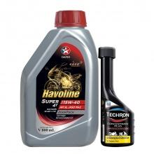 Bộ dầu nhớt xe côn tay Caltex Havoline Super 4T SAE 15W40 800ml kèm dung dịch làm sạch kim phun