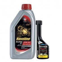 Bộ dầu nhớt xe côn tay Caltex Havoline Super 4T SAE 15W40 1L kèm dung môi pha xăng