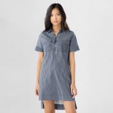 Đầm nữ Papka đen sọc đan dây ngực xẻ tà tay ngắn  4054