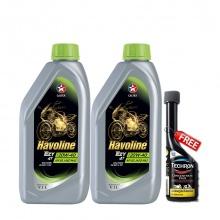 Combo 2 chai dầu nhớt xe số cao cấp Caltex Havoline Super 4T Ezy SAE 20W-40 1L tặng kèm dung môi pha xăng