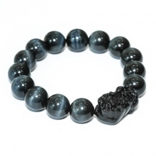 Vòng tay đá mắt hổ xanh 12mm mix tỳ hưu Obsidian BRTIGG12MT01 - VietGemstones