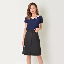 Áo công sở thời trang Eden tay ngắn phối hoa màu xanh đen - ASM032