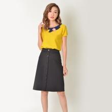 Áo công sở thời trang Eden tay ngắn phối hoa màu vàng - ASM032