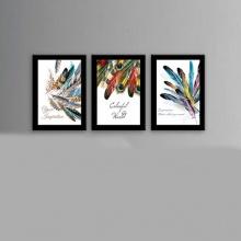 Bộ 3 khung ảnh treo tường giá rẻ - bộ ảnh hình Lông vũ – WK103